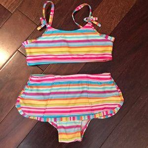 Girls 2pc striped swimsuit bikini set